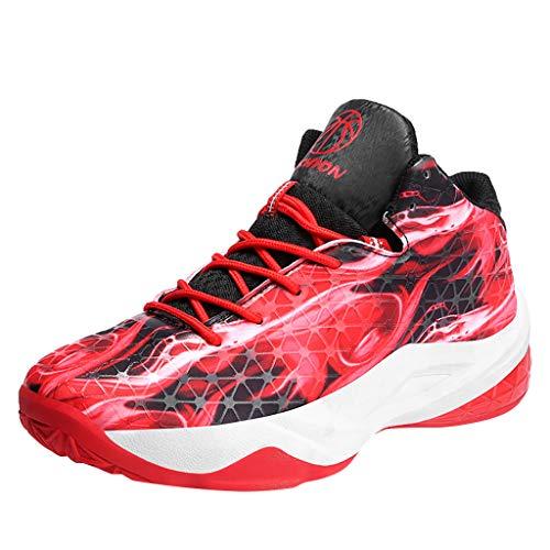 AIni Herren Schuhe Beiläufiges Mode 2019 Neuer Heißer Schnüren Sie Sich Oben Sport Bequeme Basketballschuhe Turnschuhe Freizeitschuhe Partyschuhe (41,Rot)
