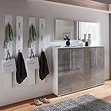 Garderobenset in Hochglanz Betonoptik mit Spiegel, Schuhschrank und 4 Garderobenpaneelen