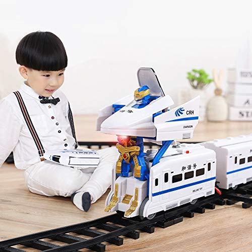 Mopoq Beleuchteter vorderer Zug Set Track Kinderhandbuch Wechselschiene Hochgeschwindigkeitsschiene Verformung Spielzeugauto Harmonie Nummer Junge und Mädchen Eltern-Kind-Interaktion Einfache Montage