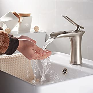 gimili baño fregadero grifo níquel cepillado acabado cascada único mango ranurado, solo agujero lavabo monobloque de grifo mezclador monomando para