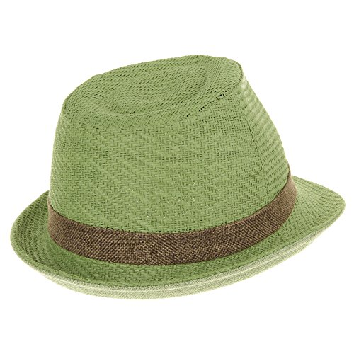 WITHMOONS Chapeau Fedora Fedora Hat Summer Cool Straw Pastel Color LD6370 Vert