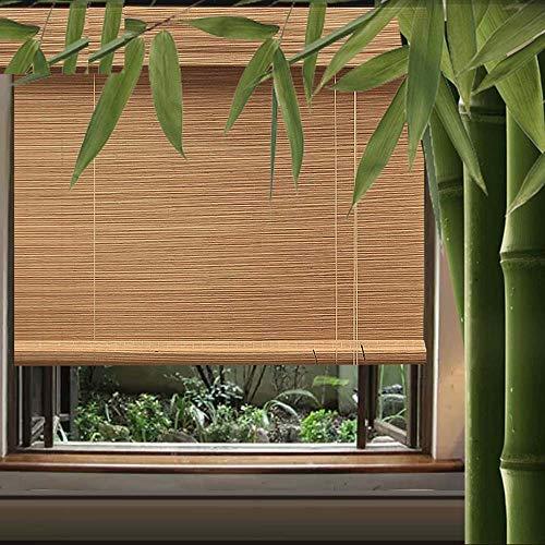 Hand-Woven Bambus-Vorhang Römischer Vorhang Rollo Wohnzimmer Trennwand Vorhang Teehaus Balkon,Belüftung Sonnenschutz wasserdicht, Hebeseil anpassbar -