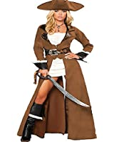 Sexy Ladies Brown Leather Pirate Fancy Dress Costume Womans Outfit New