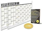argiox Premium–Calendario de pared/pared planificador–2Unidades–A259x 42cm–Organizador Incluye eBook–Famil ienplaner grande–Agenda (Año/Año Calendario con días festivos