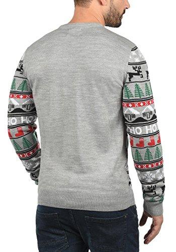 BLEND Herren Weihnachtspullover Christmas-Strickpullover Feinstrick mit Rundhals-Ausschnitt aus hochwertiger Materialqualität Stone Mix/ Ho (75138)