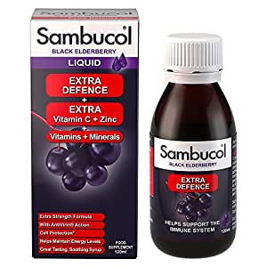 Sambucol Natural Black Elderberry Extra Defence; with Vitamin C; B6 & D;  Zinc; Folic Acid & minerals; cold and flu remedy; helps with tiredness and fatigue; immue protection - 120ml liquid
