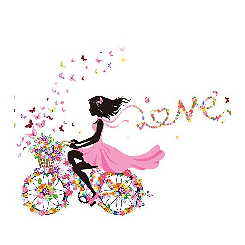 Wandaufkleber Magic Fairy Helle Blume Heart-Shaped Garland Rosa Kleid Maid Wandaufkleber für Mädchen Zimmer Dekoration - Designer Blumen-mädchen-kleider