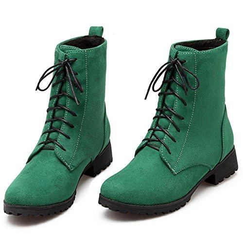 RAZAMAZA Femmes Bottes Ranger A lacets Bottines Talon Bas Automne Hiver green
