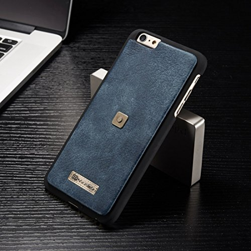 Phone case & Hülle Für iPhone 6 Plus & 6s Plus Multifunktions Ledertasche mit abnehmbarem Magnetic PC Back Schutzhülle & 4 Card Slots & 2 Cash Slots & 1 Zipper Wallet & 1 Foto Frames & 1 Haken ( Color Blue