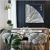 LJ 80 × 80 cm Neuer Prozess Handgefertigte Emaille Dekorative Malerei Abstrakte Malerei Schlafzimmer Wiedergabe Lotus Square Restaurant Wandbilder (Farbe : Silver)