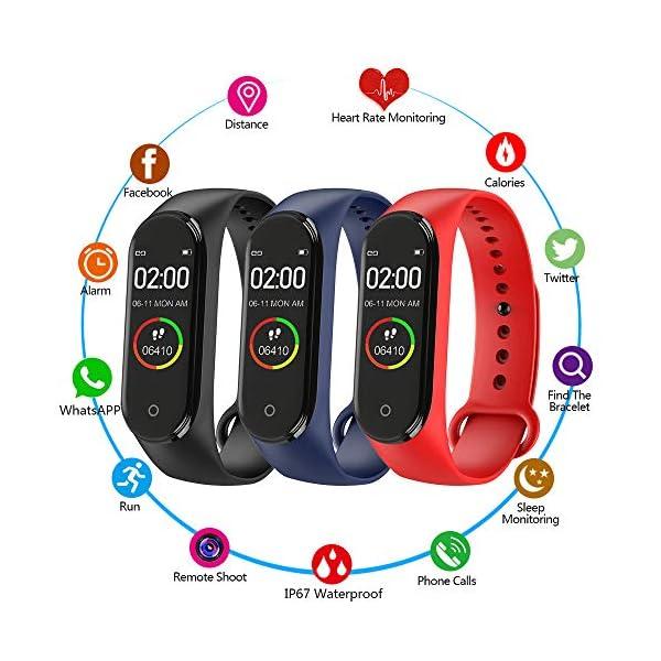 BATHRINS Pulsera Inteligente, [actualización] M4 Fitness Tracker, Impermeable Bluetooth Actividad Tracker Monitor de Ritmo cardíaco Monitor de sueño Podómetro Paso Reloj para Hombres y Mujeres 2