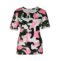 Jimmkey Women's Fashion Short Sleeve Camouflage Print T-Shirt Tops