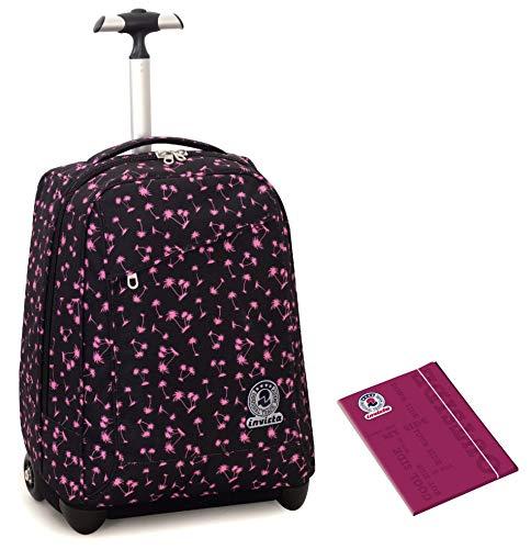 Trolley invicta + cartellina a4 - nero rosa - spallacci a scomparsa! zaino 35 lt scuola e viaggio