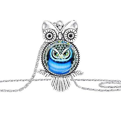 Frau Halskette Zubehör Kolylong® 1PC Frau Weinlese Eule Anhänger Halskette (Silber) (1 Oval-türkis-armband)