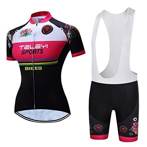 CHUANGQIF Frauen Breathable schnell trocknend Radhose Shorts + Shorts Pants + 3D Kissen gepolsterte Trikots Set Fahrrad Jersey, red -