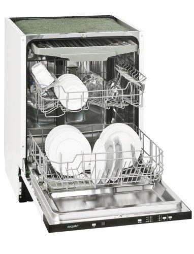Exquisit EGSP140E vollintegrierbarer Geschirrspüler/Einbau/A+++/266 kWh/Jahr/3080 L/Jahr/14 Maßgedecke/45 db/weiß/59.8 cm