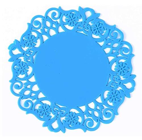 QQBL Kreatives Hohles Silikonblumen-Geformtes Anti-Belegverbrühenisolierung Runde Feste Farbe Durchmesser 9Cm Untersetzersatz Von 10 0.08Kg,Blue -