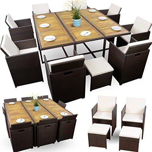 Polyrattan Sitzgruppe Braun Würfelsystem Gartenmöbel Set 8 Personen 8+4+