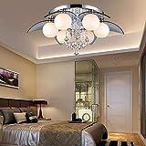 HYW Deckenleuchte - einfach und modern Luxus kreative Runde Glasschirm Kristall Deckenleuchte Wohnzimmer Schlafzimmer Deckenleuchte (Form, Farbe optional) -Home warme Deckenleuchte,6-Kopf-Segment
