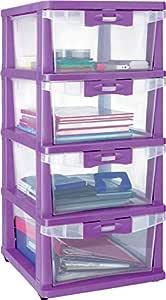 Nilkamal Plastic Cabinet Drawer Chester 24 (Purple)