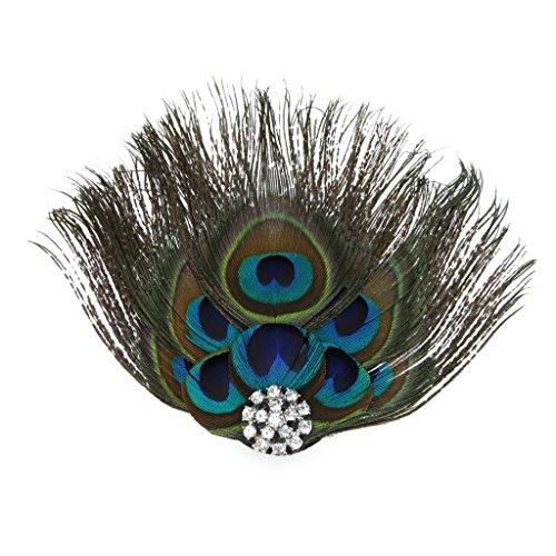 Feder Kostüm Pfau (MagiDeal Pfauen Feder Haarspangen Fascinator Kopfschmuck für 1920s Party)