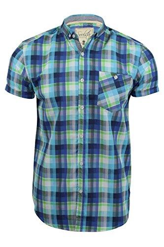Herrenhemd 'Hutex' von Soul Star mit Rundhalsausschnitt, kurzärmelig Blau