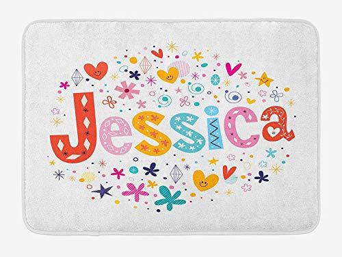 ASKYE Jessica Bath Mat, Retro Colorful Motifs Swirls Chevron Zigzags and Happy Hearts Ornate Dots Backdrop, Plush Bathroom Decor Mat with Non Slip Backing, 23.6 W X 15.7 W Inches, Multicolor White Swirl Glass Bowl