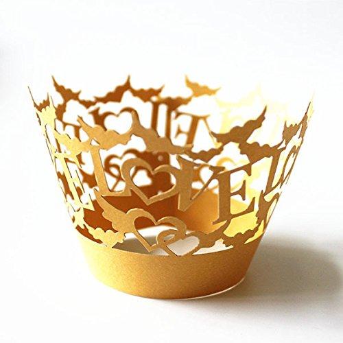 ROSENICE Kuchen Cupcake Muffin Fällen Liebe aushöhlen Backen Cup Fall Hochzeit Party Dekoration in gelb 50 (Dekoration Wrap Liebe)