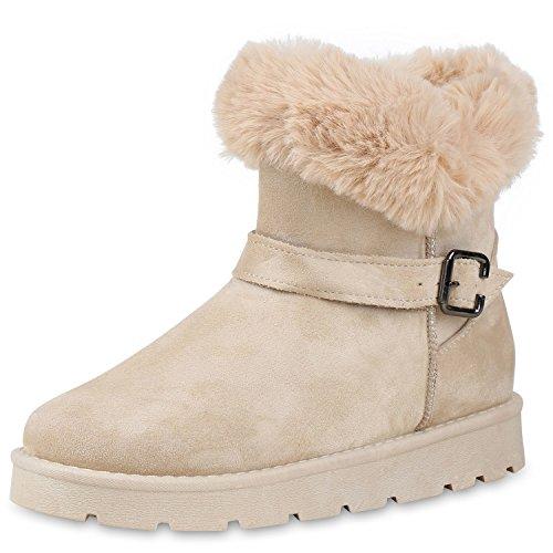 SCARPE VITA Warm Gefütterte Damen Stiefel Schlupfstiefel Boots Kunstfell 152348 Creme 38