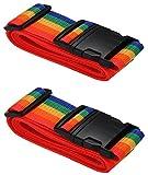 Cinghia per Valigia - formato 200cm x 5 cm - Cintura Sicurezza Regolabile con Fibbia per Bagaglio Valigia - Cinghia di imballaggio arcobaleno