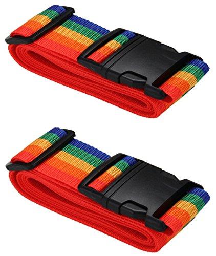 [2 Pack] Koffergurt Farbig - Verstellbare Kofferband - Gepäckgurt 5 * 180 cm - Zum Sicheren Versließen der Koffers auf Reisen - Inklusive 3 Jahren Geld-zurück-Garantie (Rainbow)