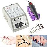 MojiDecor Elektrisch Nagelfeile Nagelfräser Nagelstudio Maniküre Set inkl. Fräser und Schleifhülsen mit geringem Rauschen und Vibration