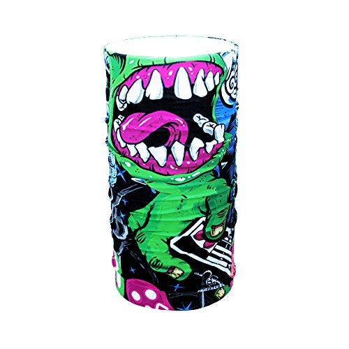 HD Druck Premium - Multifunktionstuch - Verschiedene Designs Bedrucktes Halstuch Motorrad Sommer Frühling Totenkopf Skull Fastnacht Bunt Maske Joker Buff Tuch Venom (Green Monster)