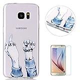 Coque Case for Samsung Galaxy S7 Edge Gel de Silicone Housse[Gratuit Protections D'écran]KaseHom Mode Coloré Clair Souple Transparente Anti-rayures TPU-Geste Drôle