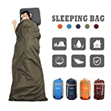 CAMTOA® ultraleicht, klein, warm Schlafsack Hüttenschlafsack, Outdoor Wasserdicht Camping Sleeping Bag Sommerschlafsack Armeegrün