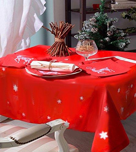 Mantel Rectangular (antimanchas, de Navidad para mesa de 8a 10personas, 150x 240cm), color rojo width=