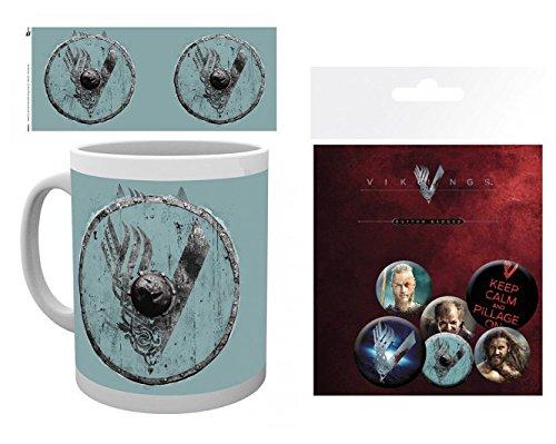 Set: Vikings, Blue V Tazza Da Caffè Mug (9x8 cm) E 1 Vikings, Set Di Badge (15x10 cm)
