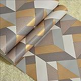 ADN-7 Moderne Abstrakte Geometrische Vliestapete Schlafzimmer Nacht Wohnzimmer TV Hintergrund Wanddekoration Braun Grau 0,53 * 10 Mt