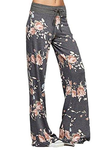 Corala Damen Blumenmuster Kordelzug Weite Bein Breite High Waisted Hose Lose Lange Hosen, M, grau