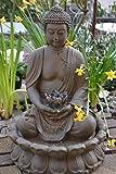 Buddha- Brunnen stabil + wasserdicht, Höhe 47-50 cm - elektrischer Brunnen -hübscher Buddha für Haus und Garten-