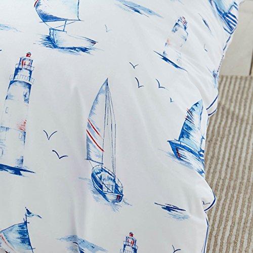 Modern Charlotte Thomas Reversible Salcombe Bedding Duvet Cover Pillowcase Set, White / Blue – Single Size