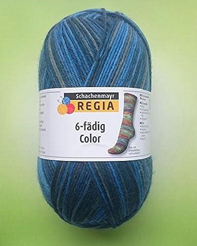 Hdk-Versand Schachenmayr Regia 6-fädig Color Sockenwolle 75% Schurwolle, 25% Polyamid (Tinte 6079)
