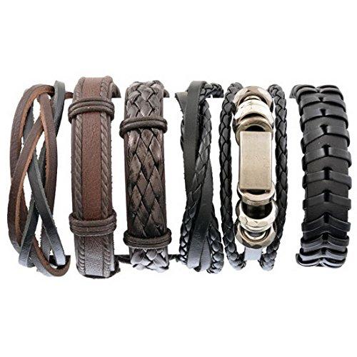 Herren Armband Set Lederarmbänder Geflochten Seil Armreifen Größe Verstellbar 6 Stück aus Leder Schwarz Braun