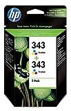 HP 343 - Pack de ahorro de 2 cartuchos de tinta Original HP 343 Tricolor para HP DeskJet, HP OfficeJet, HP PSC, HP Fax