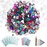 COZYOURS selbstklebende Strasssteine in verschiedenen Farben, Sticker und Edelsteine, Strasssteine mit flacher Rückseite, Edelsteinverzierungen 1080/600 Packung mit Pinzette, Platte und Holzstäbchen