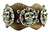 Trendit Echt Leder Armband Edelstahl skullsmile Nieten BRAUN U5-6