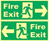 Online Center Signs Night Glow, Fire Exit Signage (Set of 2) - 12 Inch X 5 Inch X 0.12 Inch