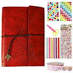 Guwheat Scrapbook Retro Handmade Butterfly Diy Family Album, Anniversary Adhesive Scrapbookwedding Photo Book With Gift Box (Red, 28x21 Cm)