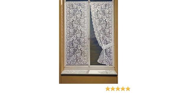 220x60 cm HomeMaison Bonne Femme Paire de Rideaux avec Embrasses Polyester Blanc