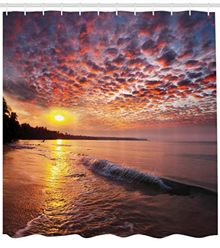ABAKUHAUS Landschaft Duschvorhang, Dämmerung am Strand Meer, Set inkl.12 Haken aus Stoff Wasserdicht Bakterie und Schimmel Abweichent, 175 x 200 cm, Orange Mauve Blue - Duschvorhang-sets Meer